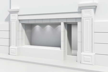 shop front: 3d store shopfront with big windows Stock Photo