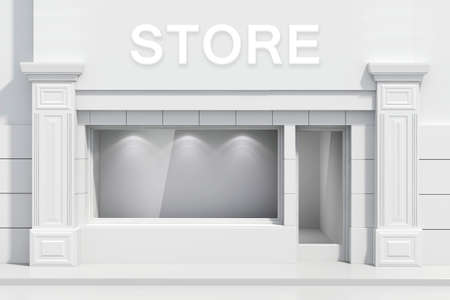 3d store shopfront with big windows Stock Photo