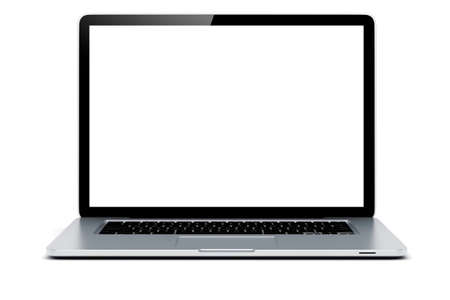 3d laptop with blank screen on white background