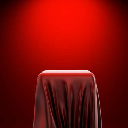 3d pedestal and red fabric on red background photo