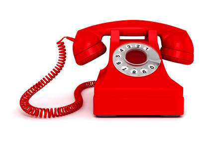 cable telefono: Teléfono rojo de la vendimia 3D sobre fondo blanco