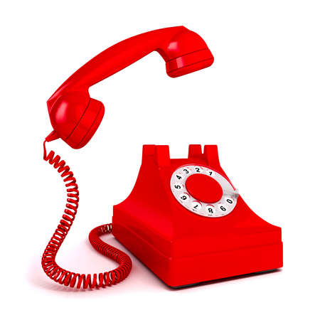 emergency number: 3d vintage red phone on white background Stock Photo