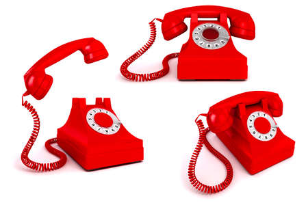phone conversation: 3d vintage red phone on white background Stock Photo