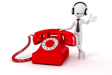3D-man en vintage rode telefoon op witte achtergrond