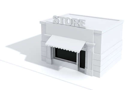 show window: 3d store shop front with big windows on white Stock Photo