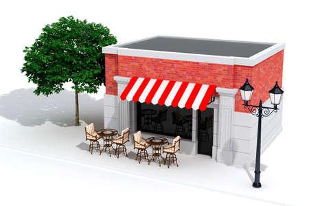 3d store shop front with big windows on white Standard-Bild