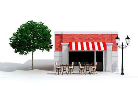 3d store shop front with big windows on white Stock Photo