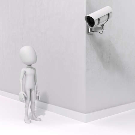 3d man and security camera photo