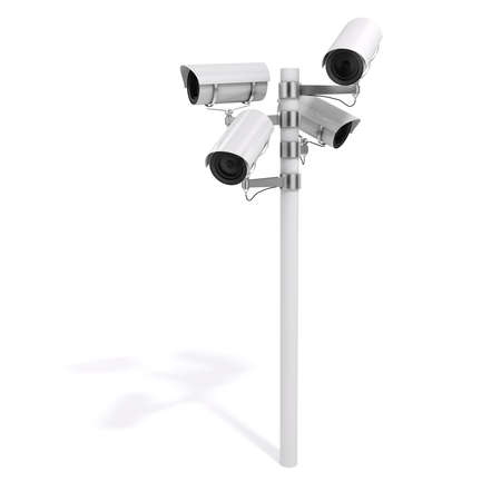 security cameras: 3d security cameras on white background