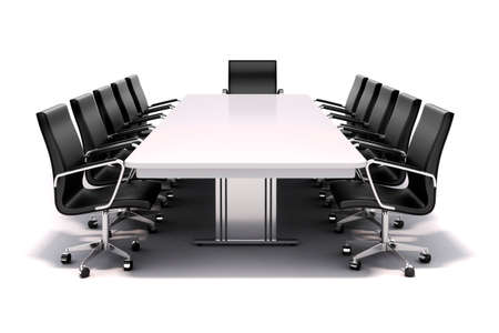 conference table: 3d conference table and chairs on white background