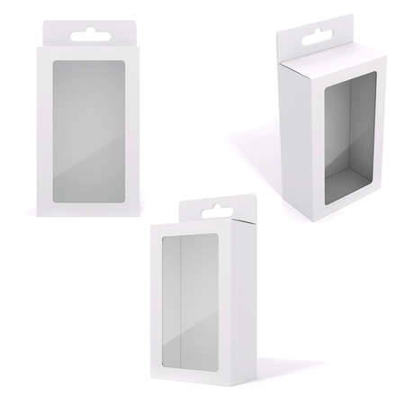3d blank product package box, on white Archivio Fotografico