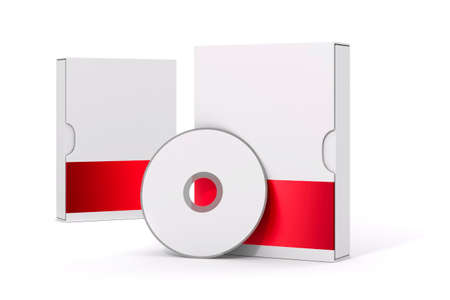 software package: 3d blank software package and dvd on white background