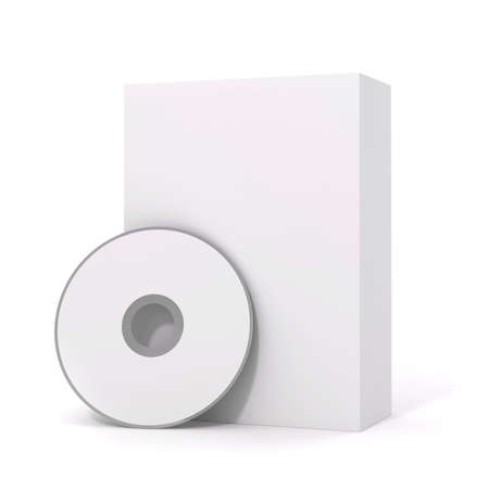 recordable media: 3d blank software package and dvd on white background