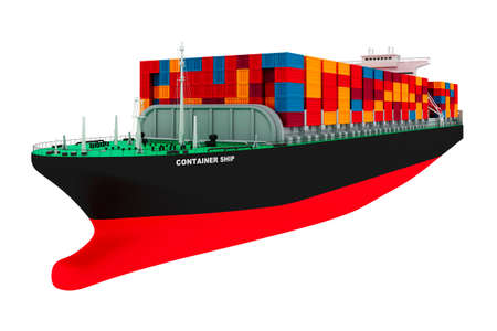 3d cargo container ship on white background photo