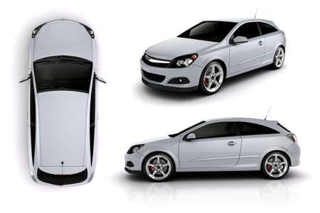 흰색 배경에 스포츠 자동차의 3D 렌더링 스톡 콘텐츠
