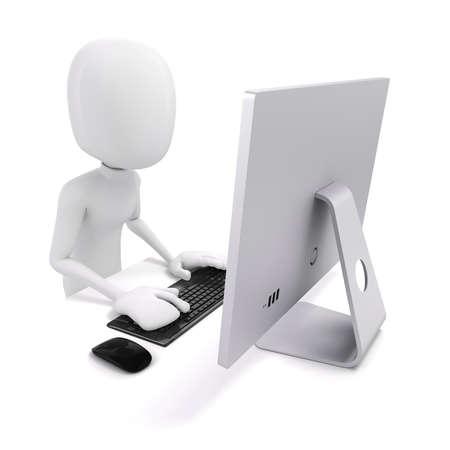 3d man werken op de computer Stockfoto