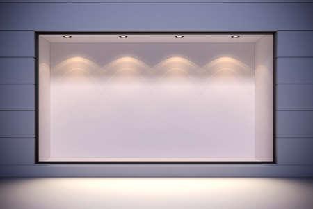 大きな窓と 3 d のストア フロント