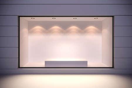 big windows: 3d магазин фронт с большими окнами