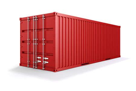 3d cargo container op een witte achtergrond