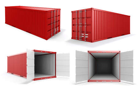 container port: 3d cargo container on white background