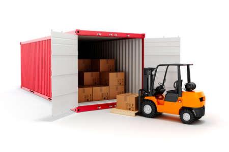 3d cargo container en dozen, de industrie vervoer concept.
