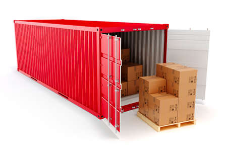 merchandize: 3d cargo container and boxes,  industry transport concept.