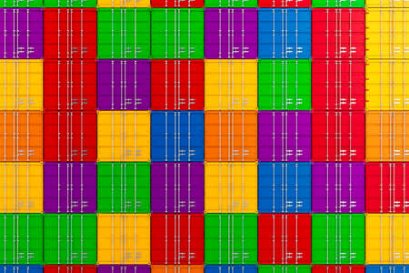 merchandize: 3d render of stacked colorful cargo containers