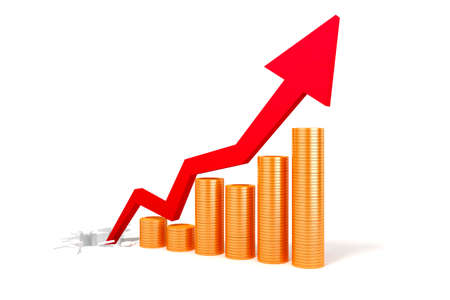 crecimiento: Monedas 3d y flecha negocio, el éxito en el concepto de negocio