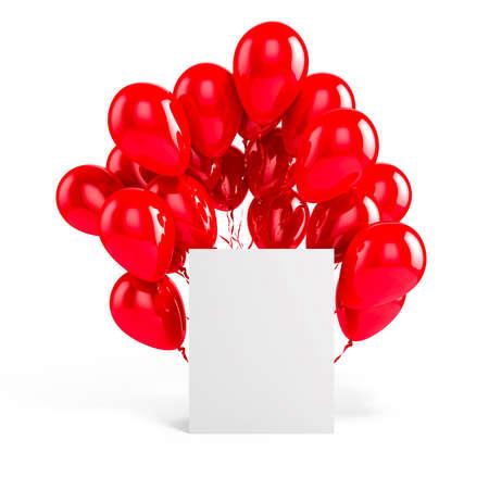blank box: 3d balloons and blank box