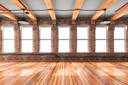 renovations: 3d empty vintage interior setup
