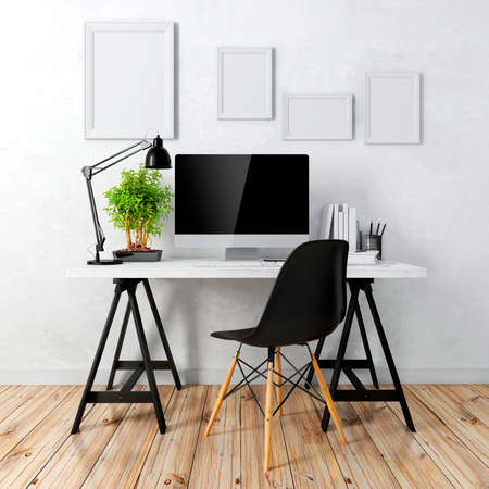 3D modernes Computerarbeitsplatz