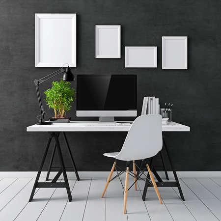 trabajo oficina: 3d moderno lugar de trabajo del ordenador