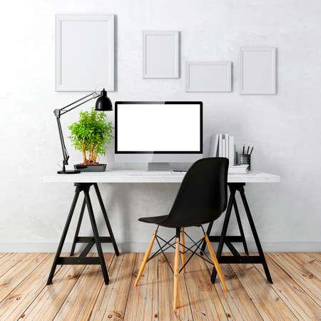 3D modernes Computerarbeitsplatz Standard-Bild - 41012286