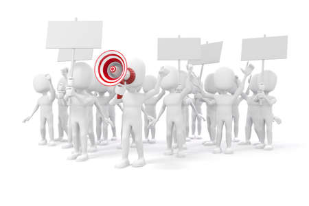3d 남자 - 흰색 backgorund에 항의하는 사람들의 그룹 스톡 콘텐츠