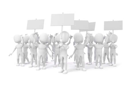 a group of people protesting: 3d man -  group of protesting people on white backgorund