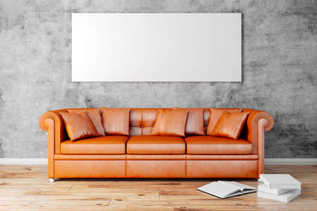 clean home: 3d interior setup with couch and blank poster
