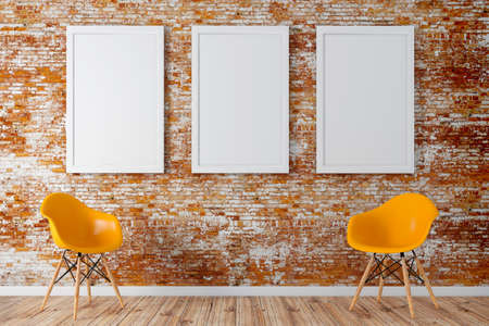 3d render of interior  with a blank frames and wooden floor