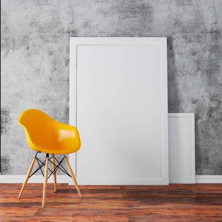 3D render van interieur met een lege frames en houten vloer