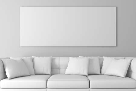 couch: 3d interior setup with couch and blank poster