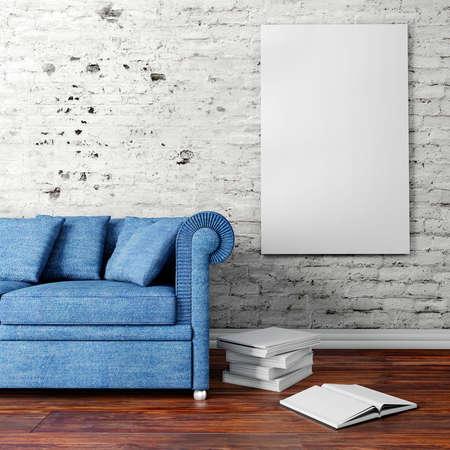 소파와 빈 포스터 3d 인테리어 설치
