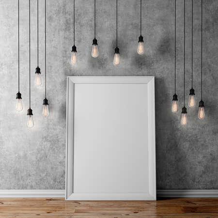 3d leeren Plakat und Glühbirnen
