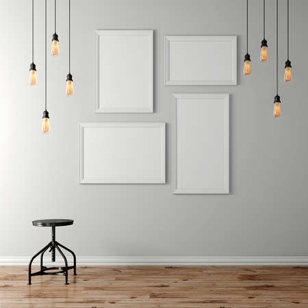 3d 빈 포스터 및 전구