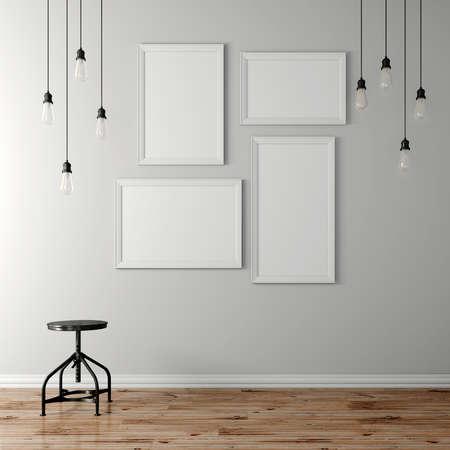 3d blank poster and light bulbs