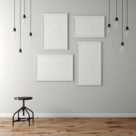 3d blank poster and light bulbs
