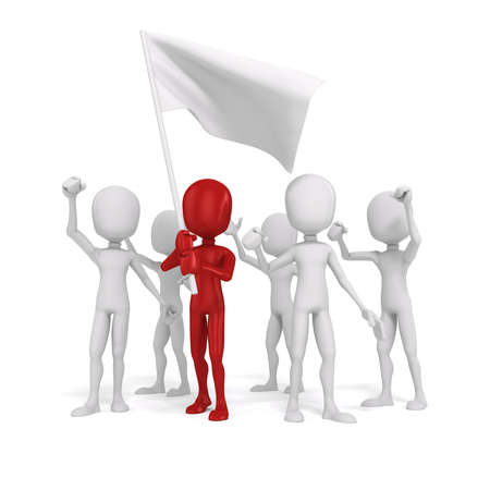 protest: 3d man and flag, protest concept Stock Photo