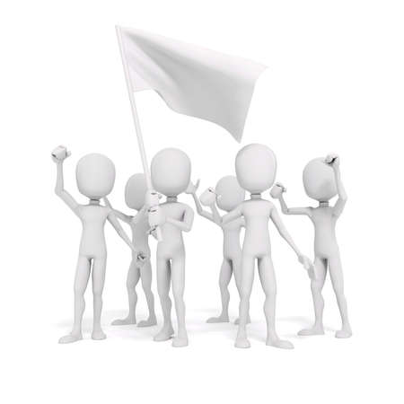 protest man: 3d man and flag, protest concept Stock Photo