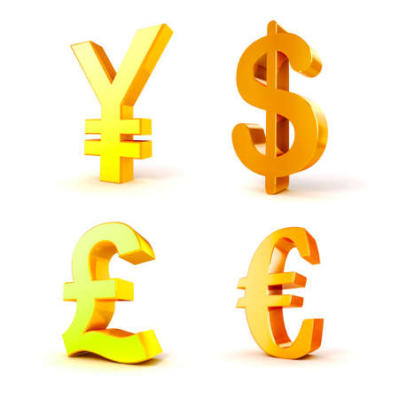 currency symbols: 3d currency symbols on white background Stock Photo
