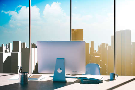 OFFICE DESK: 3d office workplace with skyline in the background Stock Photo