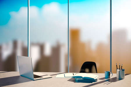 clean office: 3d office workplace with skyline in the background Stock Photo