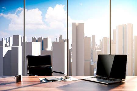 3d kantoorwerkplek met de skyline van de stad op de achtergrond Stockfoto